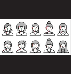 set of women icons on white background vector image