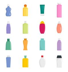 shampoo bottle hair care icons set flat style vector image