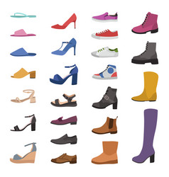 Shoes and boots various types footwear mens vector