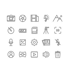 Simple set of camera thin line icons vector