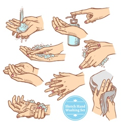 Sketch Hands Washing Hygiene Set vector