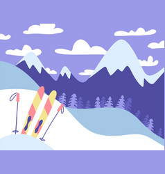 ski resort banner panoramic mountains landscape vector image