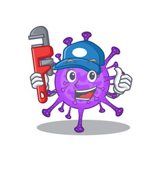 Smart plumber bovine coronavirus on cartoon design vector