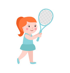 Sport girl tennis player with racket athletic vector