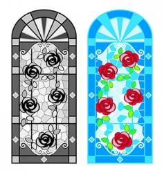 stained glass floral windows vector image