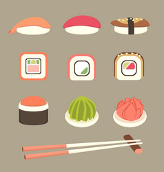 Sushi and rolls set vector