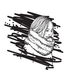 The girl in a scarf vector image