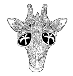 The head of a giraffe hipster vector image