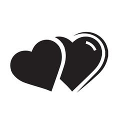 Twins heart icon black color vector