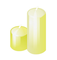 two bright yellow candles isolated on white vector image