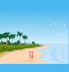 two women in a skirt walking on a long beach vector image