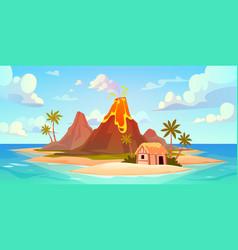 volcanic eruption natural disaster scene power vector image