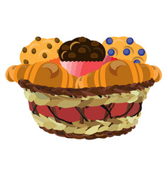 Wicker basket with muffins and croissants vector