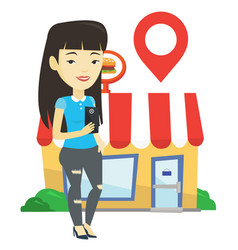 Woman looking for restaurant in her smartphone vector
