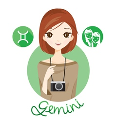 Woman With Gemini Zodiac Sign vector image