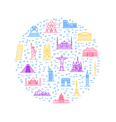 world landmarks signs thin line round design vector image