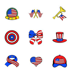 american emblem icons set cartoon style vector image vector image