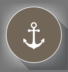 anchor icon white icon on brown circle vector image
