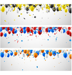 banners with balloons and confetti vector image vector image