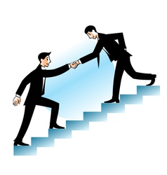 Businessman helping to go up vector image vector image