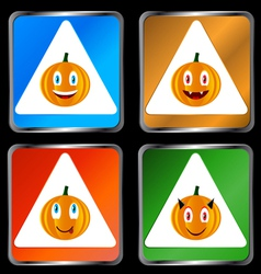 Four signs of pumpkins vector image