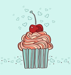 hand drawn of cupcake with cherry vector image vector image