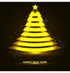 Happy New Year with Xmas tree vector image vector image