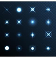 Light Glow Flare Stars Effect Set vector image vector image