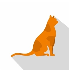Sitting cat icon flat style vector image vector image