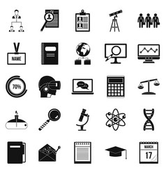 business college icons set simple style vector image