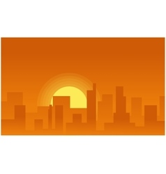 Silhouette background city on the sunset vector image