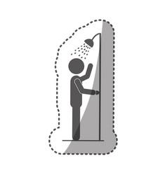 sticker monochrome silhouette pictogram person vector image