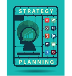 Strategy planning idea concept with business flat vector image vector image
