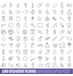 100 student icons set outline style vector image vector image