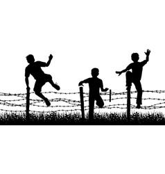 fence boys vector image vector image