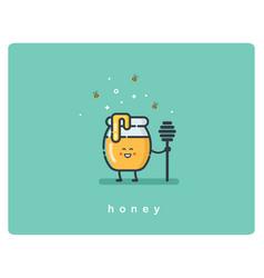 flat icon jar of honey funny cartoon character vector image