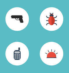 Flat icons walkie-talkie gun virus and other vector
