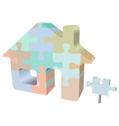 home jigsaw puzzle with sign vector image vector image