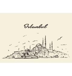 Istanbul skyline Turkey drawn sketch vector image