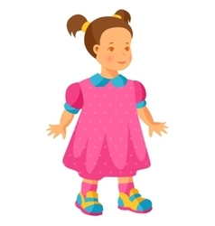 pretty little girl in pink dress vector image