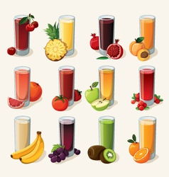 Set of tasty fresh squeezed juices vector image