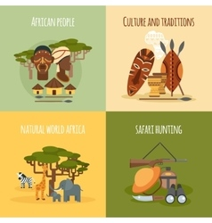 African 4 flat icons square composition vector image vector image
