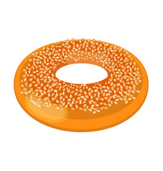 closeup of doughnut covered with small nuts vector image vector image