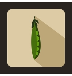 Fresh green peas icon flat style vector image