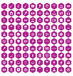 100 entertainment icons hexagon violet vector