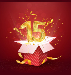 15 th years anniversary and open gift box with vector image