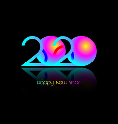 2020 happy new year symbol on luminous neon logo vector
