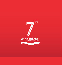 7 anniversary logotype flat design white color vector