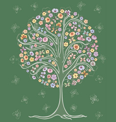 A drawing a stylized summer tree with flowers vector