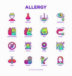 allergy thin line icons set vector image